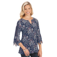 Crochet Sleeve Floral Paisley Print Top - 42605