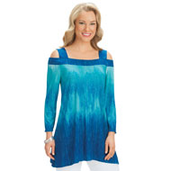 Blue Ombre Cold Shoulder Knit Tunic Top
