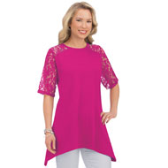 Lace Trim Short-Sleeve Tunic w/ Sharkbite Hem - 42612