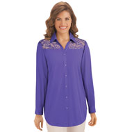 Lace Yoke Button Down Top - 42615