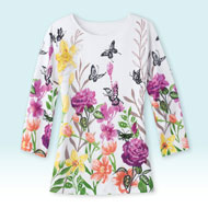 Butterfly Garden Floral Sequin Top