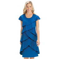 Tiered Ruffle Front Cap Sleeve Knit Dress