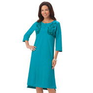 Embroidered Cotton Knit Dress with 3/4 Sleeves - 42628