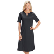 Lattice Neckline Jersey Knit A-Line Dress