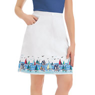 White Skort with Sailboat Border Print - 42633