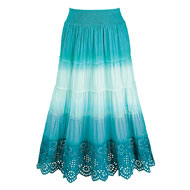 Ombre A-Line Skirt with Eyelet Trim - 42634