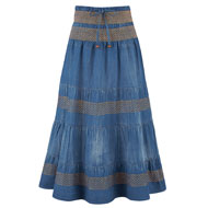 Tiered A-Line Denim Prairie Skirt