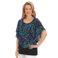 Printed Capelet Overlay Top with Tank - 42650