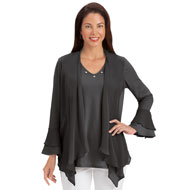 Sheer Front 2-In-1 Cascade Tunic w/ Bell Sleeves - 42655