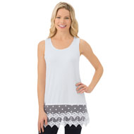 Lace Trim Scoop Neck Tunic Tank Top - 42669