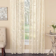 Songbird Lace Curtain Panel with Scalloped Hem - 42679