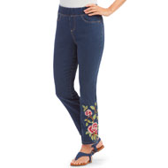 Floral Embroidered Pull On Denim Ankle Pant