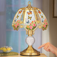 Floral Butterflies Glass Shade Touch Lamp