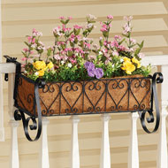 Black Iron Scrollwork Deck Rail Planter - 42834