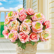 Artificial Pastel Rose Bush Picks, Set of 3 - 42895