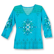 Embellished Southwest V-Neck 3/4 Sleeve Top - 42919