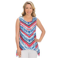 Red, White, Blue Chevron Sharkbite Tank Top - 42924