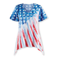 Festive Americana Flag Ombre Sequin Top - 42938