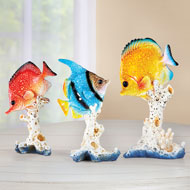 Set of 3 Tropical Fish Tabletop Figurines