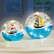 Lighted Nautical Sailboat Crackle Glass Balls - 42951