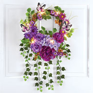 Lush Mixed Floral Lighted Summer Door Wreath