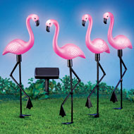 Pink Flamingos Solar Yard Stakes Set of 4 - 43132