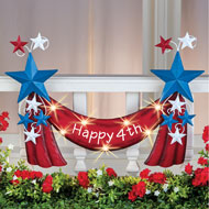 Happy 4th Metal Banner Solar Outdoor Decoration - 43169