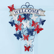 Patriotic Butterfly Metal Welcome Sign Wall Decor - 43187