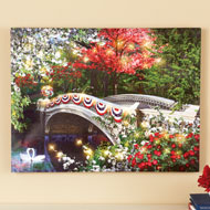 Patriotic Garden Bridge Lighted Canvas Wall Art - 43189