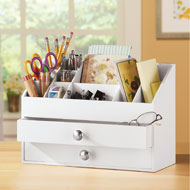 2 Drawer White Wooden Vanity Organizer - 43270