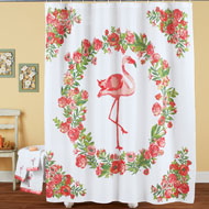 Pink Flamingo Tropical Floral Shower Curtain