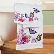 Butterfly Watercolor Floral Bathroom Towel Set