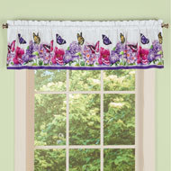 Butterfly Watercolor Floral Valance Curtain - 43283