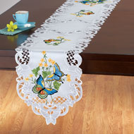Embroidered Blue Butterfly Table Linens - 43286