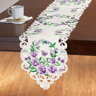 Lavender Floral Rose Basket Table Linens - 43294