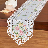 Delicate Pastel Rose Embroidered Table Linens - 43295