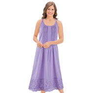 Eyelet Hem Pintuck Sleeveless Cotton Nightgown - 43328