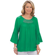 Smocked Scoop Neck Bell Sleeve Top - 43330