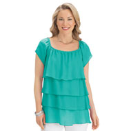 Chiffon Tiered Layered Ruffle Blouse Top