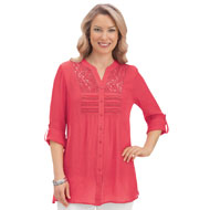 Lace Inset Pintuck Tunic with Roll Tab Sleeves - 43333