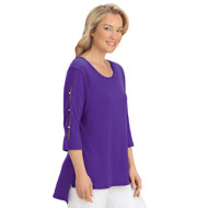 Open Cut-Out 3/4 Sleeve High-Low Tunic Top - 43337