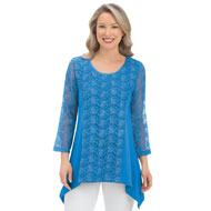 3/4 Sleeve Lace Tunic Top with Sharkbite Hem - 43340