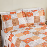Amber Orange Floral Patchwork Pillow Sham - 43344
