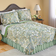Olivia Paisley Green Reversible Quilt - 43347