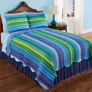 Reversible Reagan Striped Scalloped Edge Quilt - 43353