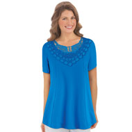 Lace Yoke Trim Short-Sleeve Knit Top - 43354