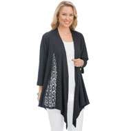 Lace Inset Knit Draped Open Front Cardigan - 43384