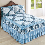 Navy Floral Medallion Tiered Ruffled Bedspread