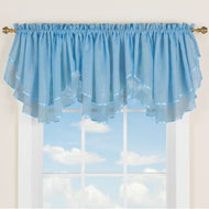 Elegant Sheer Layered 3pc Ascot Curtain Valance - 43406