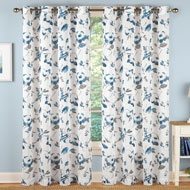 Watercolor Floral White Linen Curtain Panel - 43410